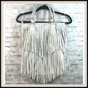 H&M Layered Fringe Off White Ecru Braided Handbag